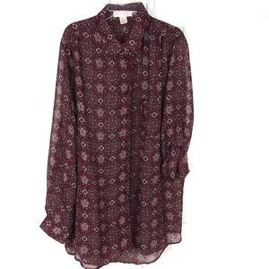 Band of Gypsies Sheer Button-up Blouse Size XL
